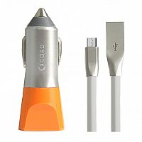 фото товара АЗУ Cord Nova 2USB 2.1A + microUSB cable Silver orange (CC-1U021O-M)