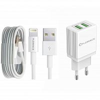 фото товара СЗУ FLORENCE 2USB 2A + Lightning cable white (FL-1021-WL)